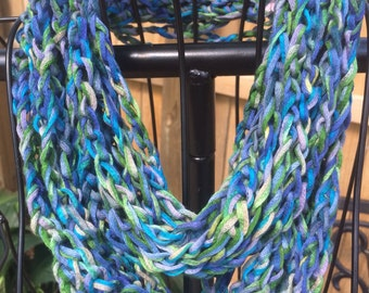 Scarves/necklace/crochet/women accessories/jewlry/loop scarf/circle scarf/cowl/blue green grey/spring/ handmade/gift for her