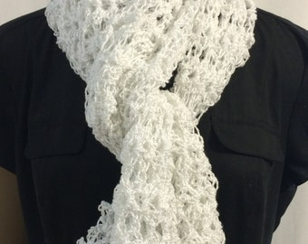 White lacy scarf/scarf/crochet scarf/ gift for her/fishnet scarf/airy and lacy/women accessories/shawl scarf/free size/clothing