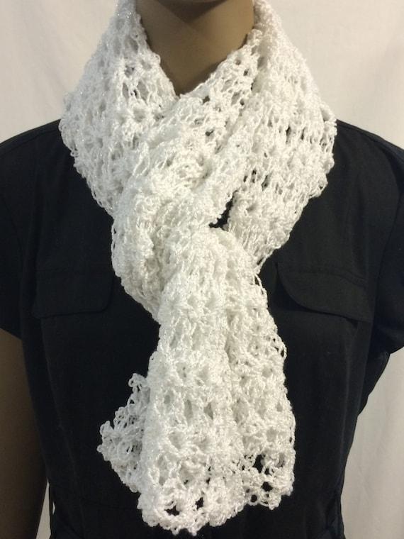 Blanco encaje bufanda bufanda/bufanda/ganchillo / regalo para | Etsy