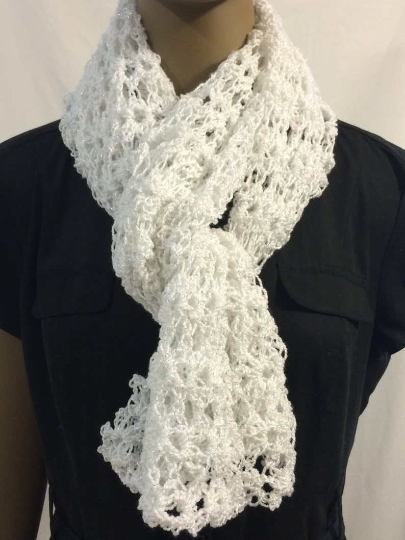 White lacy scarf/scarf/crochet scarf/ gift for her/fishnet image 0
