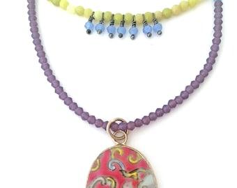 pottery shard necklace, china shard pendant, broken pottery pendant necklace, beaded pottery shard necklace, chinese pottery pendant