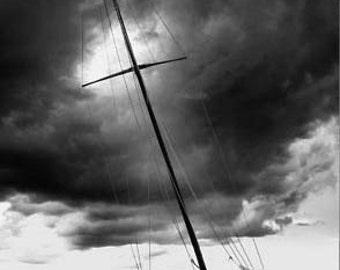 sailboat photo, black and white sailboat photo, sailboat card, sailboat mast photo, sailboat, bay of fundy, new brunswick, canada, boat