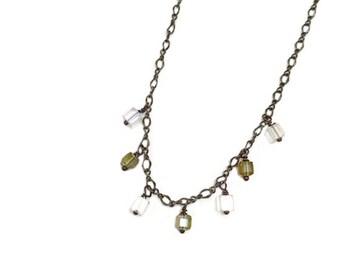 multi crystal drop necklace, crystal charm necklace, green & clear crystal necklace, crystal dangle necklace, crystal necklace, crystals