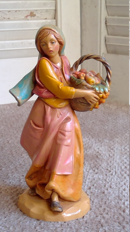 "5/"" Nativity Figurine Fontanini RACHEL Girl with Fruit Basket by Roman 52547"