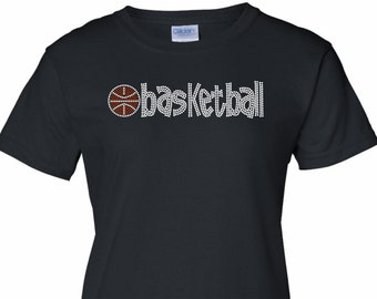 e5b8da5f07c Basketball Rhinestone Shirt design is a perfect touch of sparkle to show  your support for your son or daughters team.