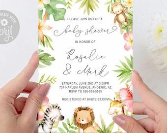 Safari Baby Shower Invitation, Editable Jungle Invitation, Animal Baby Shower, Safari Baby Thank You, Printable Digital INSTANT ACCESS - #25
