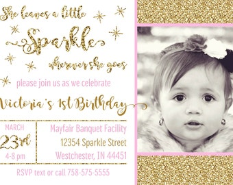 Sparkle Invitation, She Leaves a Little Sparkle Birthday Invitation, Pink and Gold Faux Glitter Invitation, Printable