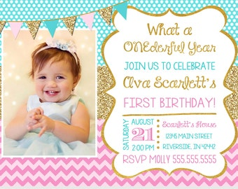 What a ONEderful Year First Birthday Invitation - Sparkle Invitation - Faux Glitter First Birthday Invitation - Pink and Gold Invitation