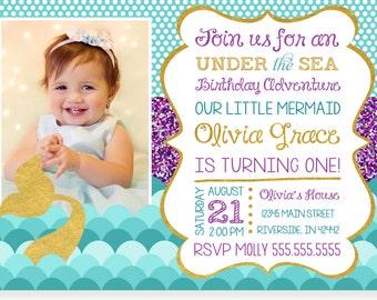 Under The Sea Invitation, Mermaid Birthday Invitations, Under The Sea Party, Printable Under The Sea Birthday Invitation,