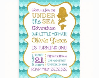 Mermaid Birthday Invitation, Under the Sea Mermaid Invitation, Little Mermaid Invitation Teal Purple Gold Sparkle Mermaid Invitation
