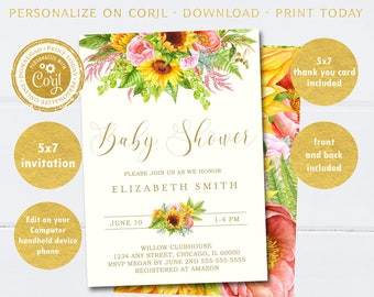 Sunflower Baby Shower Invitation, SELF-EDITABLE Invitation, FREE Thank You Card Included, Edit Now on Corjl.com