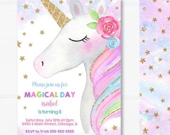 Unicorn Birthday Invitation, Editable Unicorn Invitation, Girl Invitation and Thank You Card, Printable Digital INSTANT ACCESS - #21