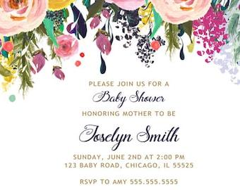 Flower Baby Shower Invitation, Invitacion Baby Shower Español, Cottage Chic Baby Shower Invitation, Girl Baby Shower Invitation Printable