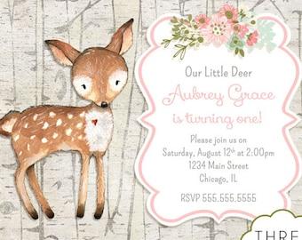 Deer Birthday Invitation, Woodland Animal Birthday Invitation, Printable Invitation, Girl Deer Birthday Invitation, Our Little Deer Invite