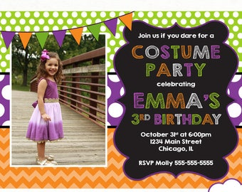 Halloween Birthday Invitation, Costume Party Invitation, Costume Party Birthday Invitation, Printable Halloween Party, Purple Green Orange