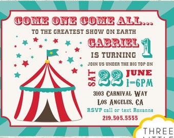 Carnival Invitation, Printable Carnival Invitation, Circus Invitation, Vintage Carnival Invitation, Vintage Circus invite, Carnival Birthday