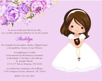 Girl First Communion Invitation, Invitacion Primera Comunión, Lavender Printable 1st Communion Invitation, Pink First Holy Communion Invite