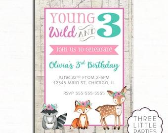Young Wild and 3 Birthday Invitation, Woodland Invitation, Printable Woodland Animal Invitation, Wild One Invitation, Third Birthday Invite