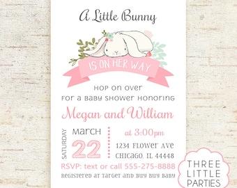 Bunny Baby Shower Invitation, Girl Baby Shower Invitation, Boy Printable Rabbit Baby Shower, Invitacion Conejito,  Invitacion Conejita