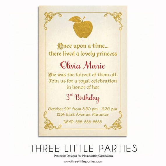 Snow White Invitation Fairytale Invitation Snow White Etsy