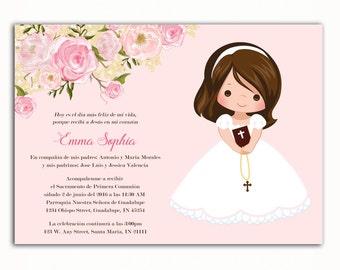 Invitacion Primera Comunión, Printable Floral First Communion Invitation, Girl Baptism Invitation, 1st Communion, English, Spanish, Español