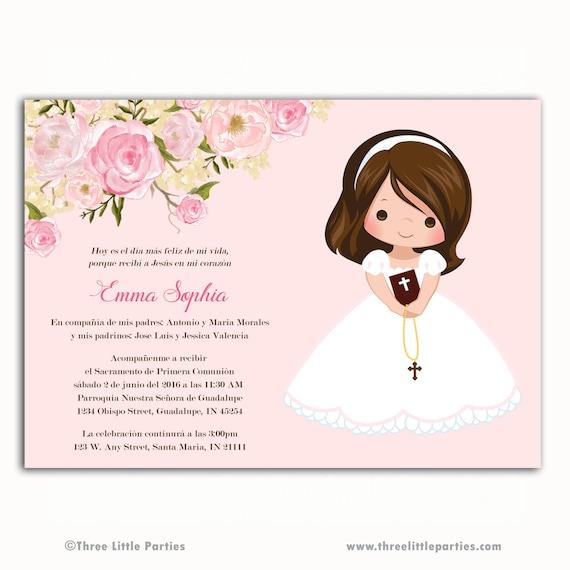 9702faf892851 Invitacion primera comunión invitación a imprimir floral en