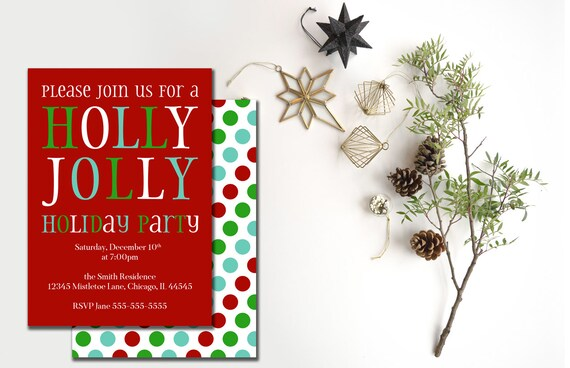 Office Christmas Party Invitation.Holiday Party Invitation Holly Jolly Christmas Party