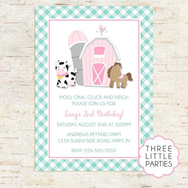 Pink Barnyard Invitation Farm Birthday Barn Animal Rustic