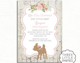 Little Miss ONEDeerful  Invitation, Woodland Animal Birthday Invitation, Printable Girl Deer Birthday Invitation, Our Little Deer Invitation