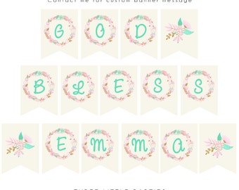 Printable Personalized God Bless Banner, Floral Banner, DIY Lace Banner, Confirmation, Christening Banner, First Holy Communion Banner