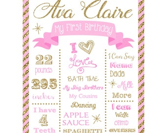 Pink and Gold First Birthday Chalkboard Sign - Sparkle Birthday Poster - Milestone Sign - You Print - Printable Birthday Sign - Faux Glitter