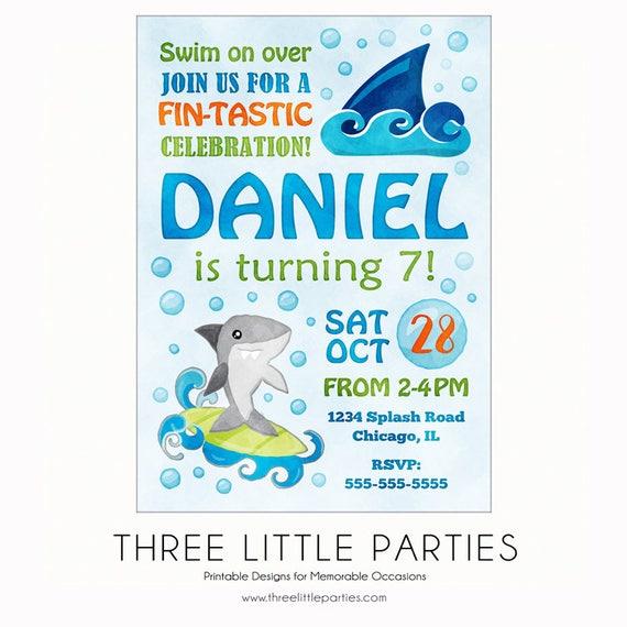 Fintastic Shark Invitation Printable Birthday Pool Party Invite