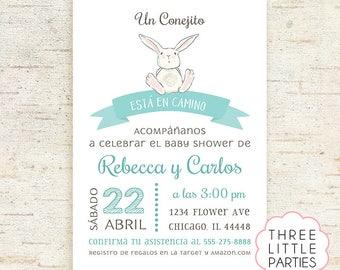 Invitación Baby Shower Conejito,  Invitación Baby Shower Conejita, Boy Bunny Baby Shower, Girl Baby Shower Invitation Printable, Woodland