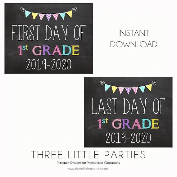 It is a picture of First Day of 1st Grade Printable Sign in creative