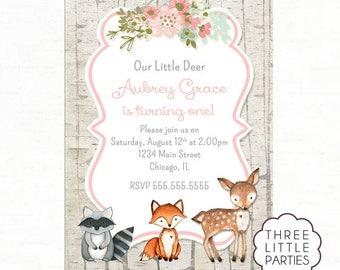 Woodland Animal Birthday Invitation, Printable Invitation, Girl Deer Birthday Invitation, Our Little Deer Invite, Fox Birthday Invitation,