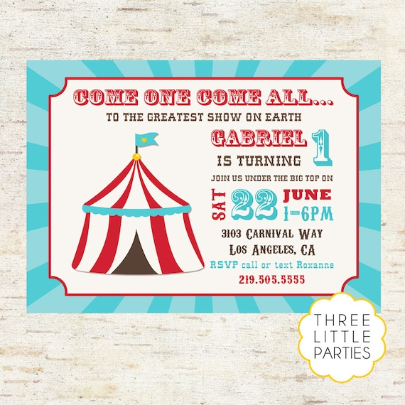 Carnival Birthday Invitation Printable Circus Vintage Invite Blue Red