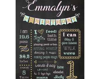 Sparkle First Birthday Chalkboard Sign,  Chalkboard Sign, Milestone Sign, You Print, Printable, Pink Birthday Sign