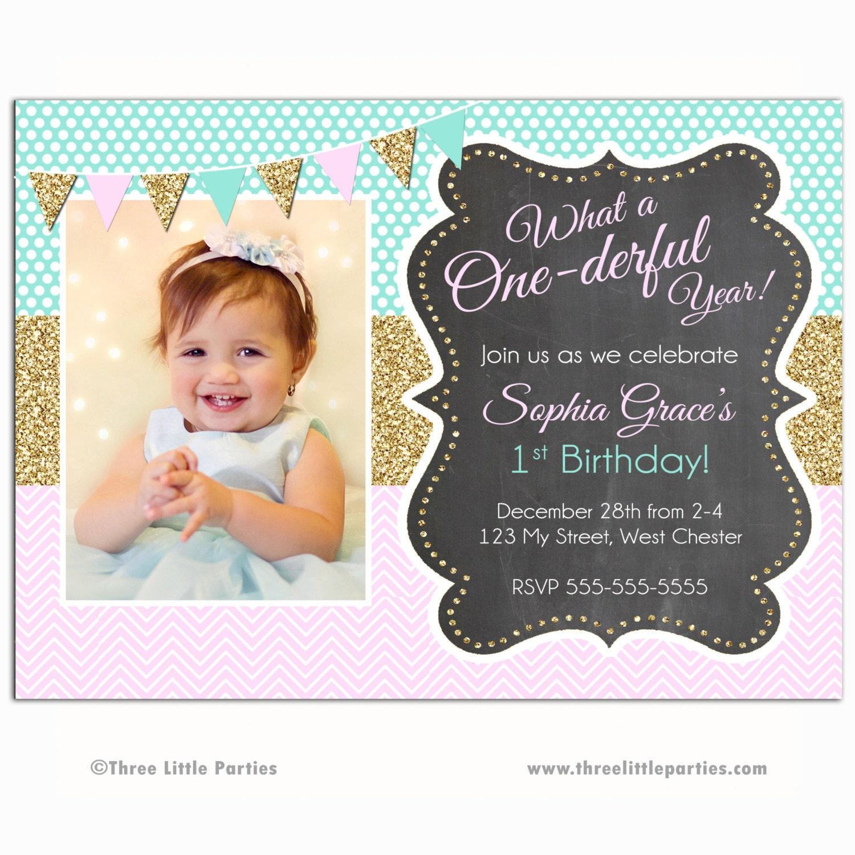One Derful Birthday Invitation One Derful Year Invitation Sparkle 1st Birthday Invitation Picture Printable First Birthday Invitation