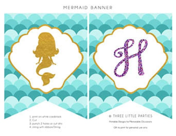 photo about Printable Mermaid identified as Custom made Mermaid Banner - Printable Mermaid Banner