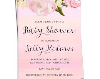 Girl Baby Shower Invitation - Floral Baby Shower Invitation - Printable Girl Baby Shower Invite - Pink Invitation