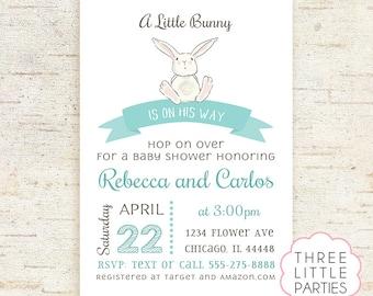 Boy Bunny Baby Shower Invitation, Girl Baby Shower Invitation, Boy Printable Rabbit Baby Shower, Invitación Conejito,  Invitacion Conejita