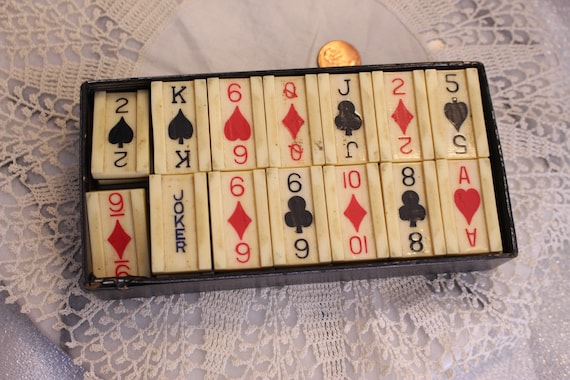 Set di piastrelle bachelite playing card vintage in scatola 53 etsy