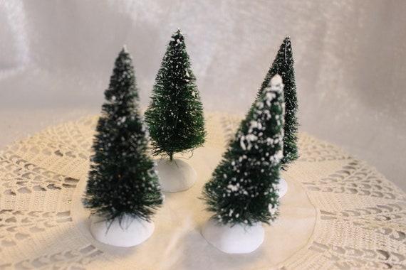 Department 56 Christmas Tree.Department 56 Vintage Christmas Trees With Snow Set Of 4 Mini Snow Flocked Bottle Brush Christmas Trees