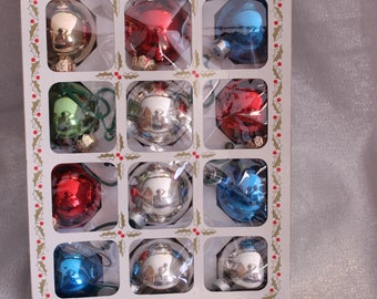 Vintage Red, Green, Silver, Blue, and Glitter Ornaments Box of 15 Ornaments