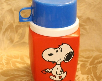 1958 Snoopy Peanuts Thermos By Thermos Division King Seeley Red and Blue