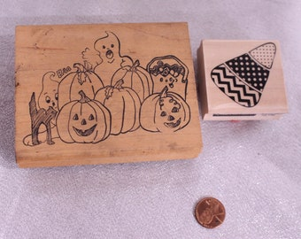 Halloween Rubber Stamps, Candy Corn and Pumpkin Patch, Wood Stamp for Scrapbooking or Card Making