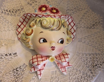 Vintage Porcelain Miss Dainty Wall Pocket by Lefton