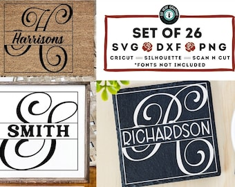 Simple Script Split Monogram SVG Design Bundle | 26 Cut Files for Cricut Silhouette Scan N Cut