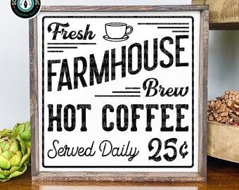 Fresh Farmhouse Coffee Sign SVG Cut File Design for Cricut, Silhouette, ScanNCut | Digital Download