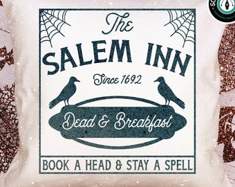 The Salem Inn Dead & Breakfast | Vintage Halloween Farmhouse SVG Design for Cricut Silhouette Scan N Cut | Digital Download